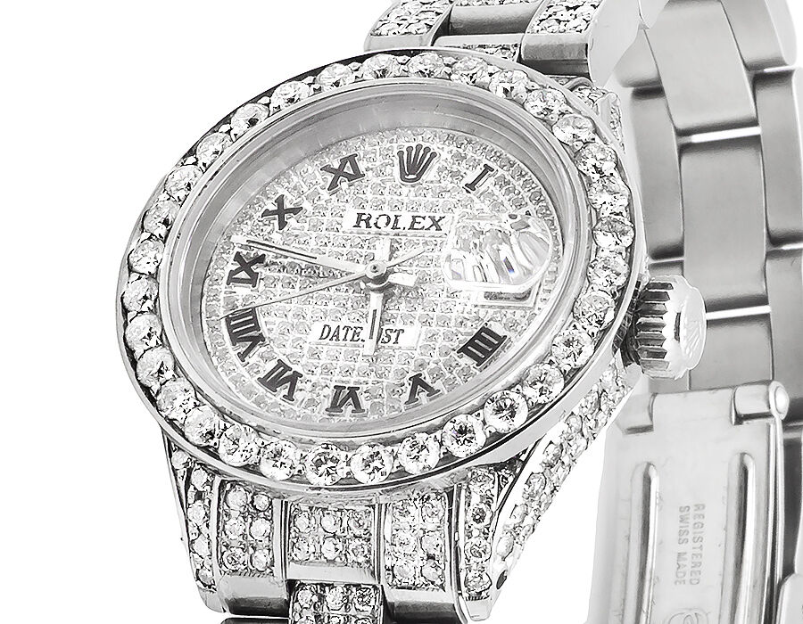Ladies Rolex Datejust Oyster 27MM Full Iced Out Roman Dial