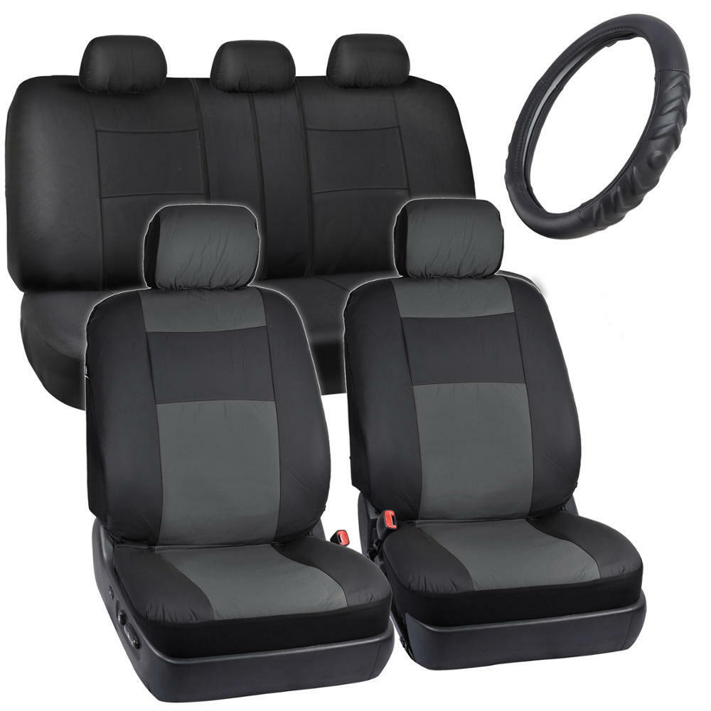 ProVinyl Charcoal Synth Leather Seat Covers For Car/Auto
