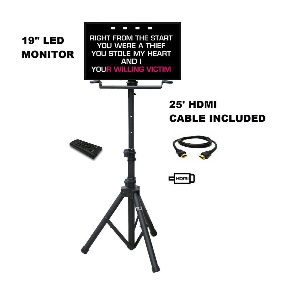 19 u0026quot  led karaoke player monitor tripod stand hdmi vga rca
