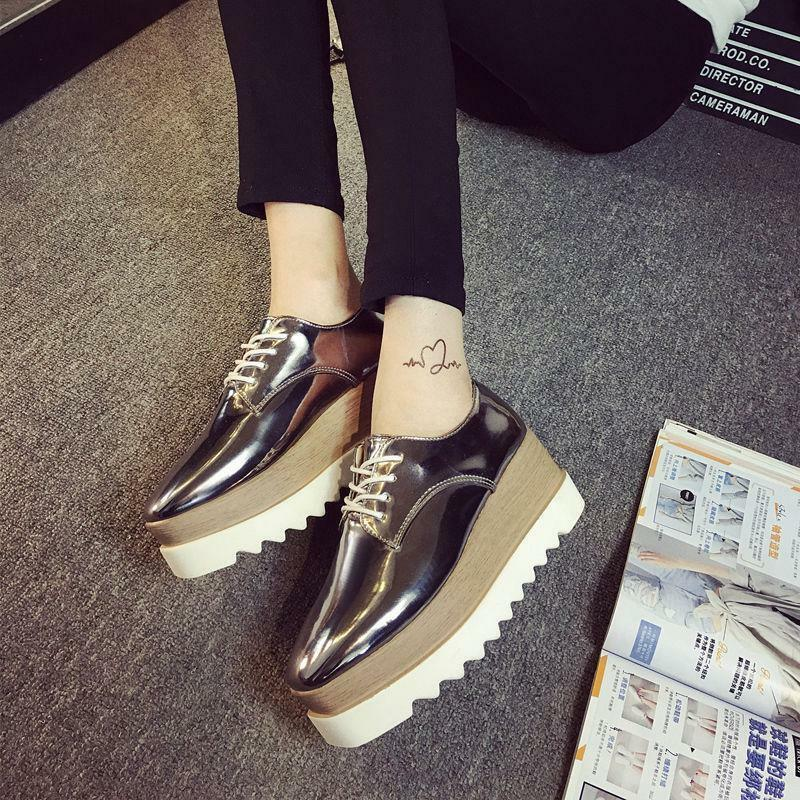 55cef1dbf6d Details about Women s Fashion Platform Creepers Shoes Oxfords Shiny Lace Up  Flats Double