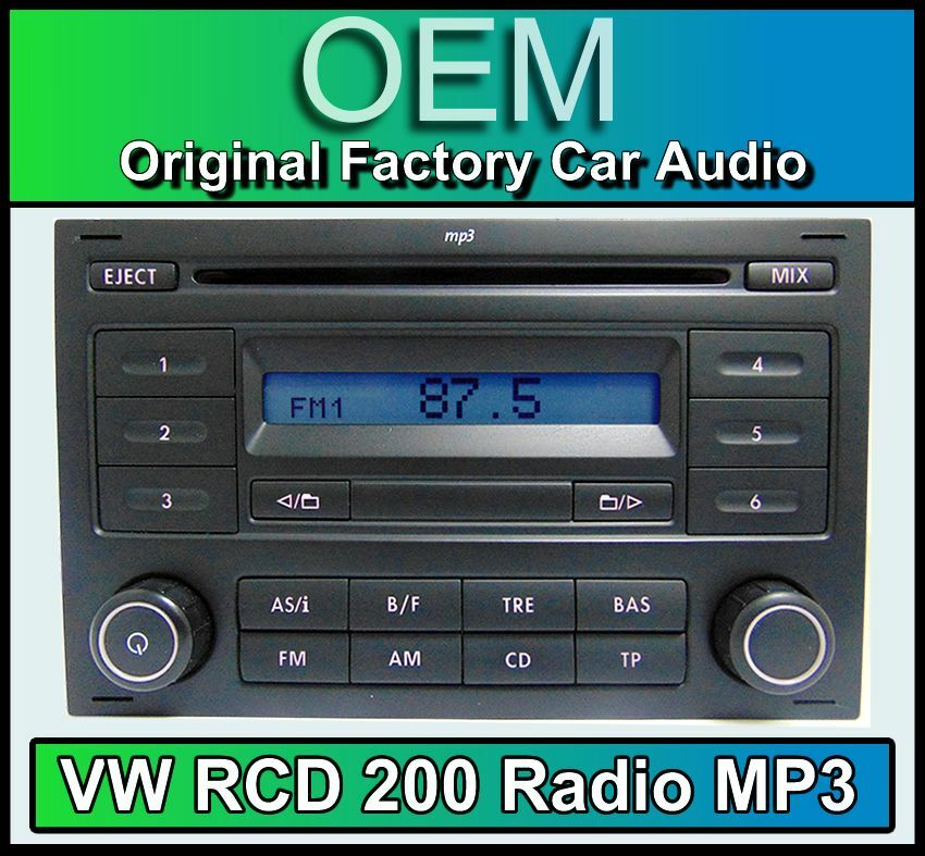 vw rcd 200 mp3 cd player radio polo car stereo head unit with radio code ebay. Black Bedroom Furniture Sets. Home Design Ideas