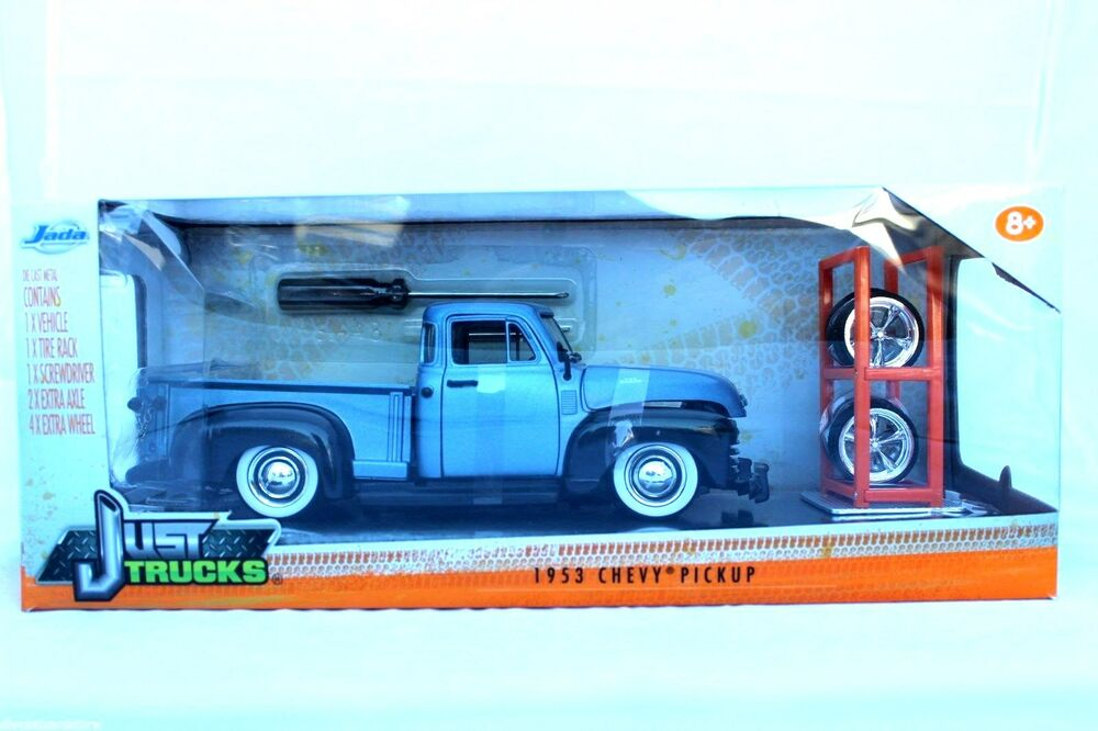 Toys From 1953 : Jada just trucks chevy pickup extra wheels blue