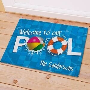 Personalized Welcome To Our Pool Doormat Family Name Pool