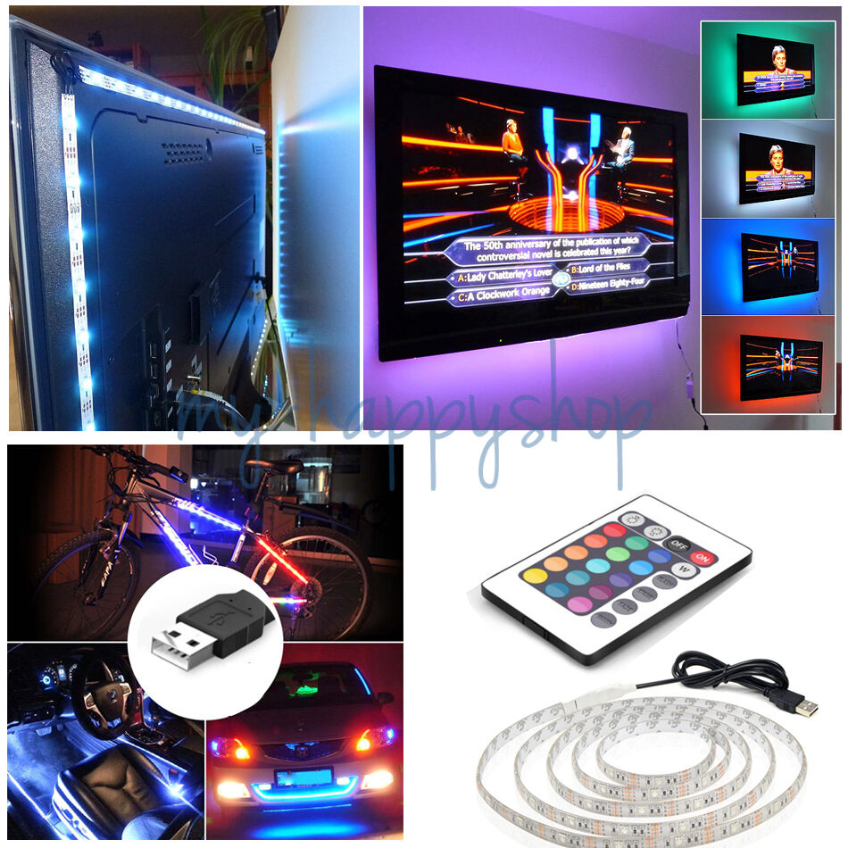 50 200cm usb led strip lights tv back light rgb colour. Black Bedroom Furniture Sets. Home Design Ideas