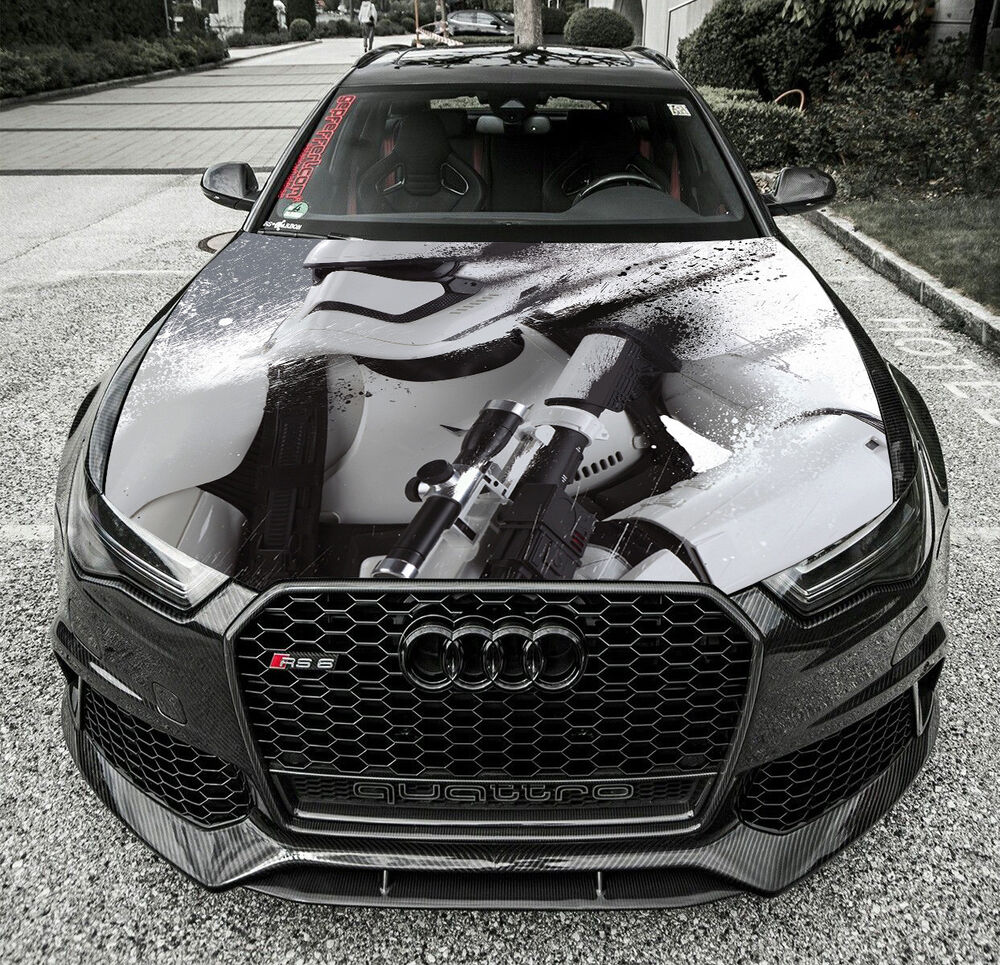 Details about star wars stormtrooper full color hood graphics vinyl wrap fit any car