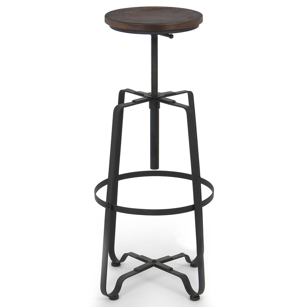 Rustic Bar Stool Adjustable Swivel Top Chair Industrial
