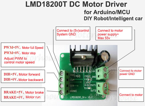 Lmd18200t Dc Motor Driver Module Pwm Adjustable Speed For