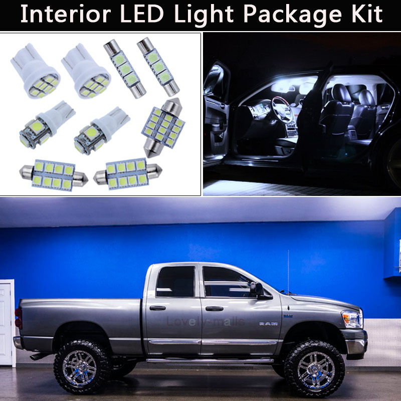 7pcs Xenon White Led Interior Car Lights Package Kit Fit 2003 2008 Dodge Ram J1 Ebay
