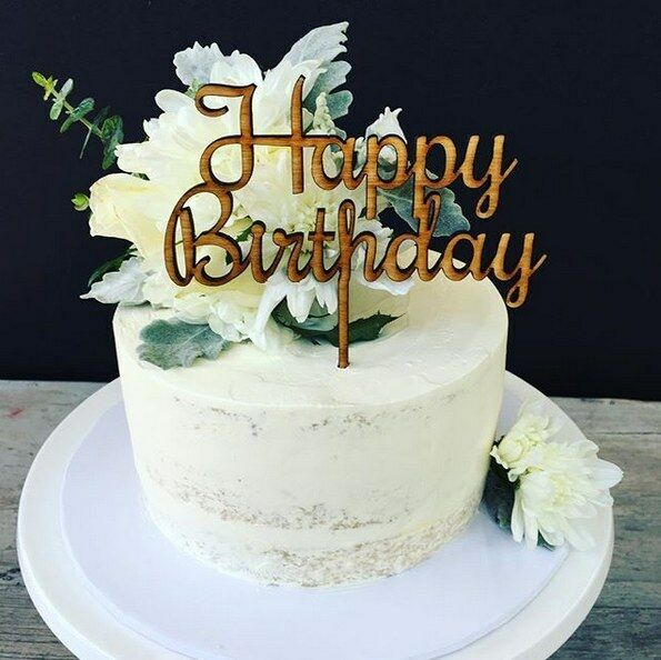 Details About Happy Birthday Cake Topper Wooden Decor