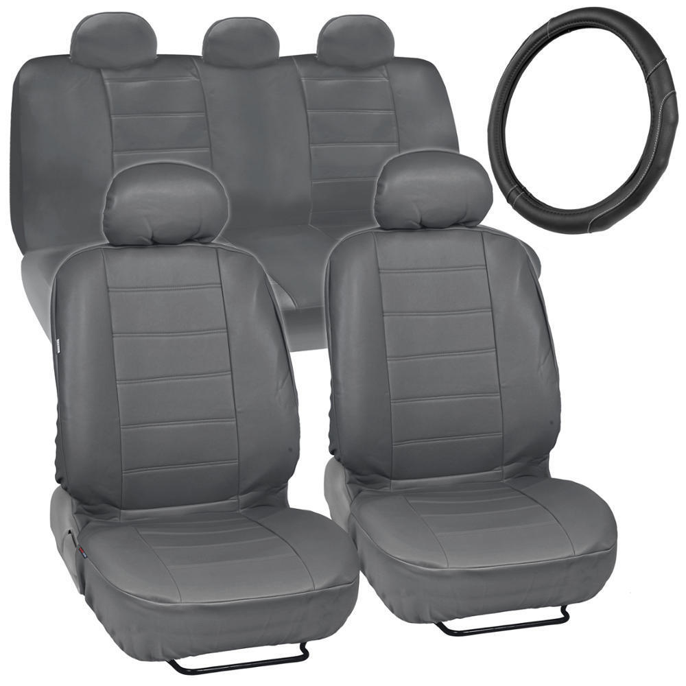 car seat covers steering wheel cover comfy faux leather gray grey ebay. Black Bedroom Furniture Sets. Home Design Ideas