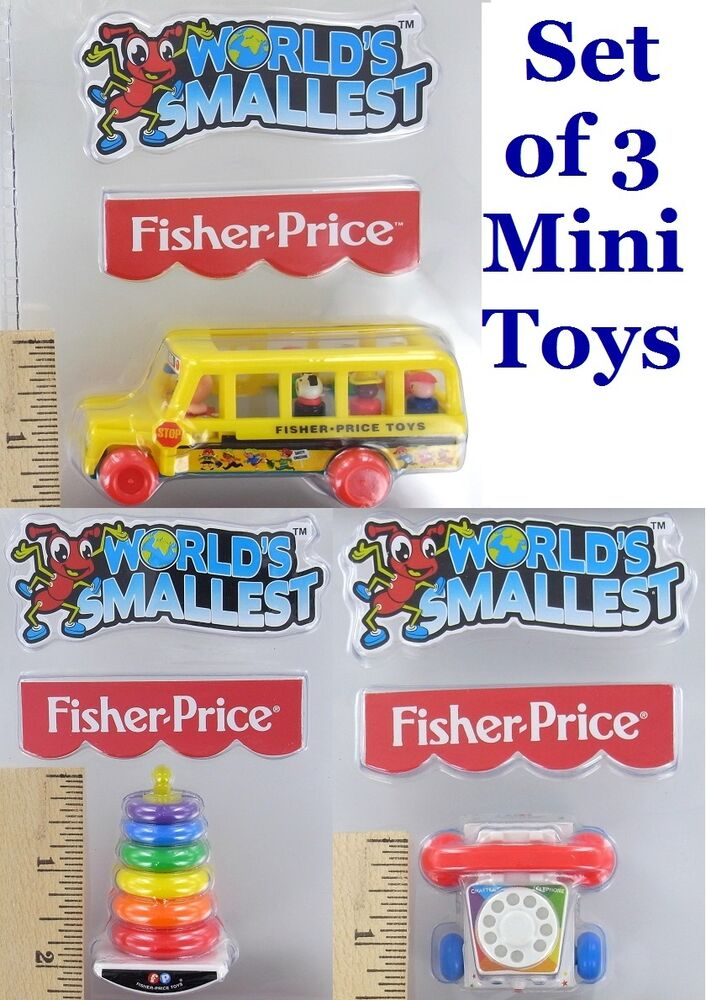 SET of 3 World's Smallest Fisher-Price Miniature Toys: BUS ...