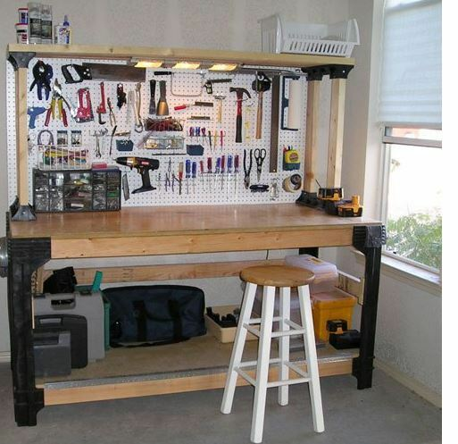 Tool Benches Garage : Workbench kit diy work bench wood table garage shop