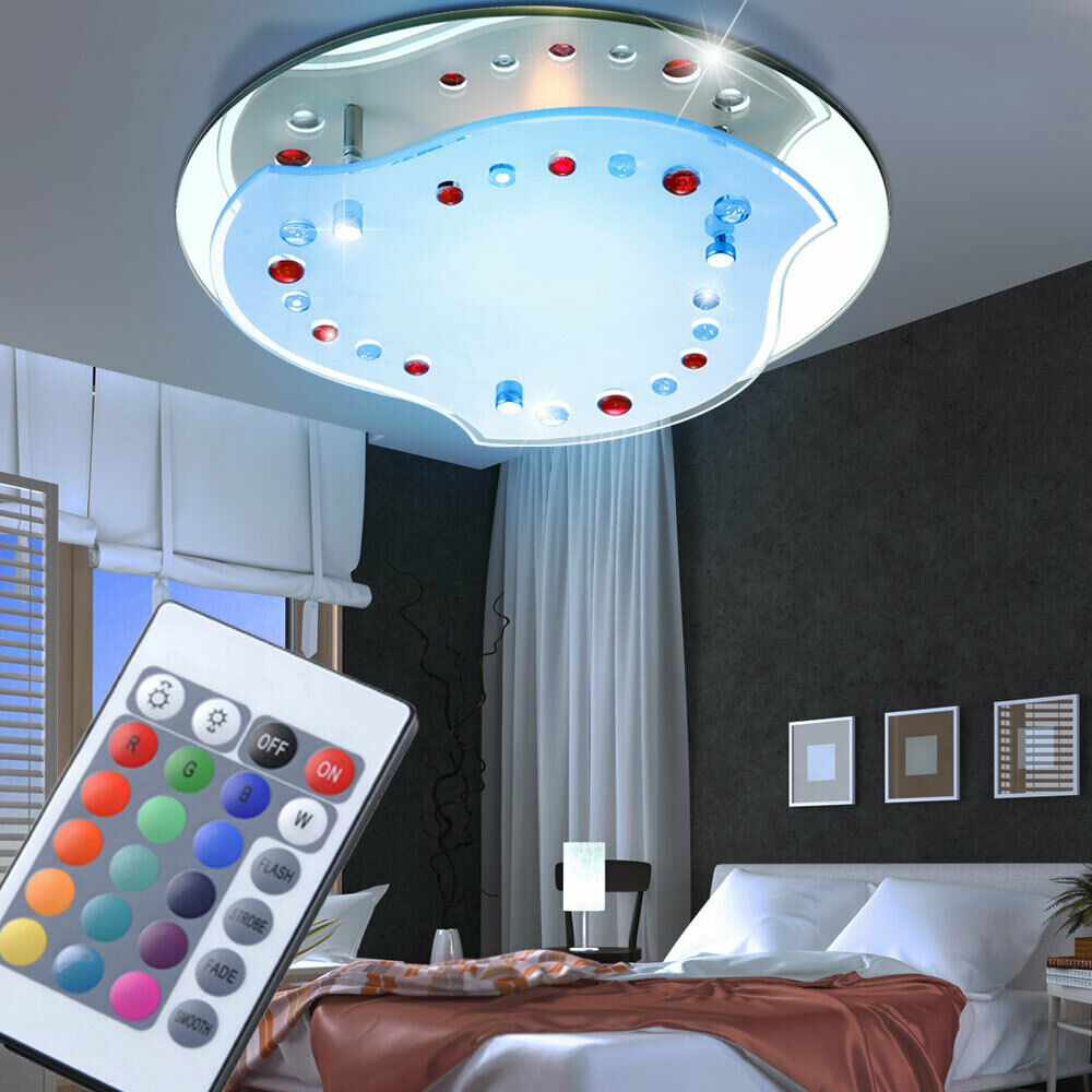 led decken lampe rgb flur spiegel glas leuchte bad licht dimmbar fernbedienung ebay. Black Bedroom Furniture Sets. Home Design Ideas