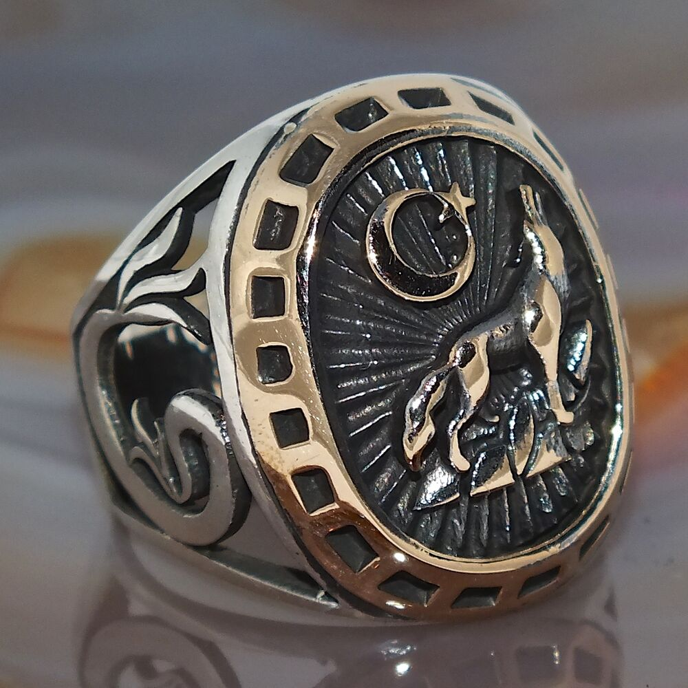 s ring with howling wolf solid 925 sterling silver ebay