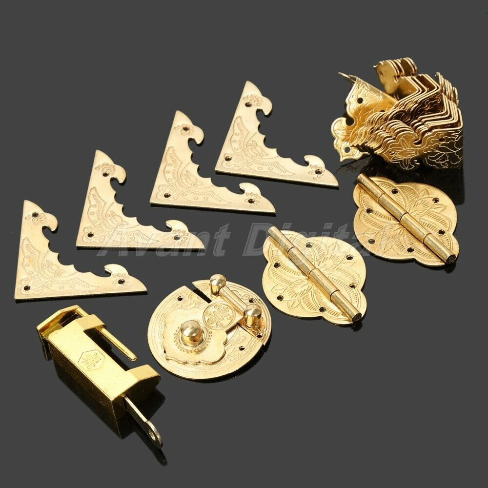 Set Chinese Brass Hardware Hinges Latch Jewelry Box Handle