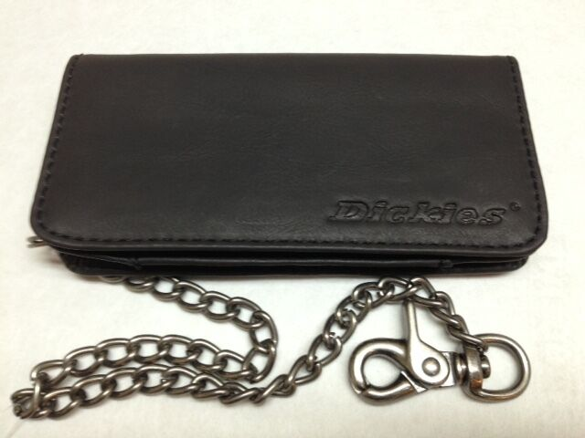 "cc8616520685 Dickies Mens Leather Trucker Long Wallet 16"" Chain 31Di3000 Black 