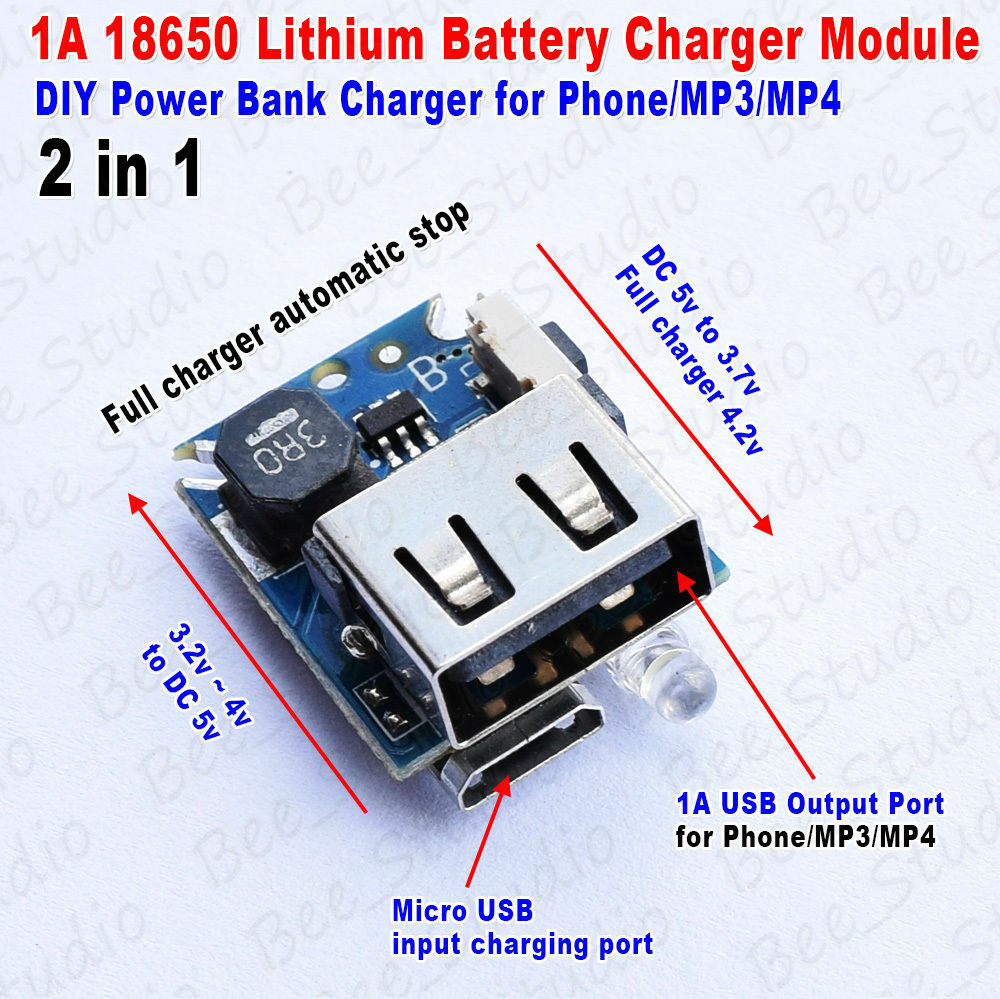 2in1 1A USB Charger Discharge module for 18650 lithium ...
