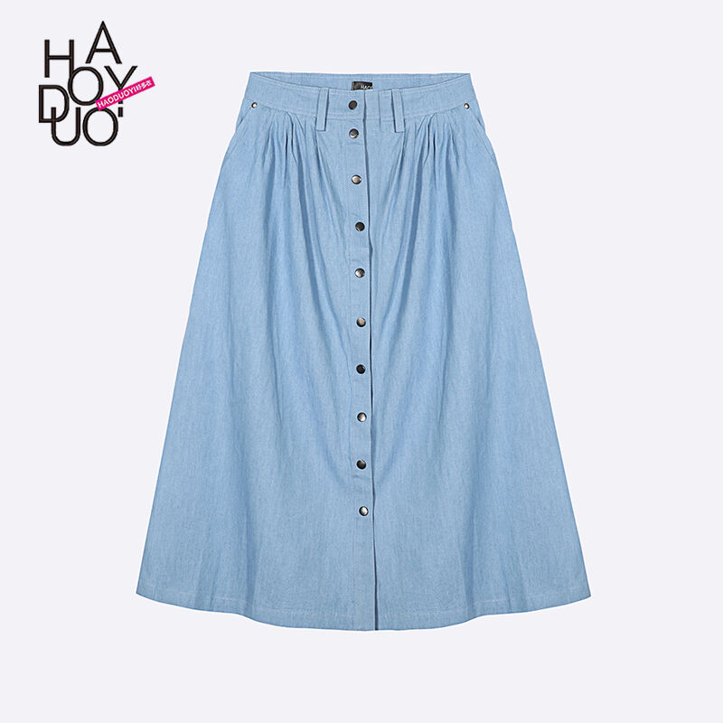 summer single buttons casual high waist denim skirt