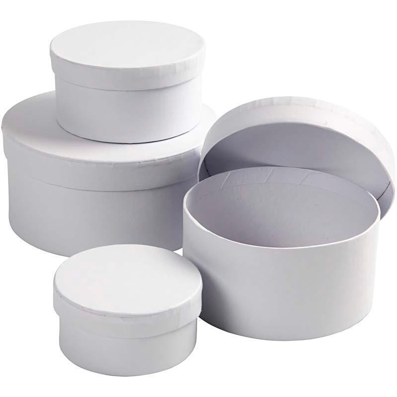 4 x round shaped boxes 8cm 14cm craft storage white cardboard create decorate ebay. Black Bedroom Furniture Sets. Home Design Ideas