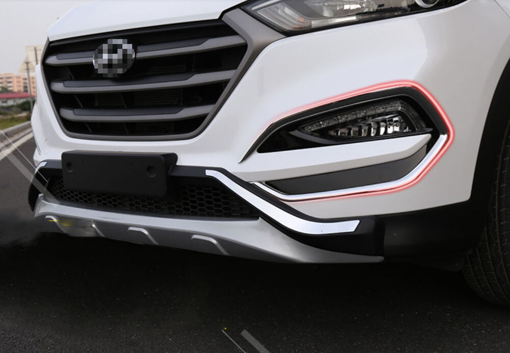 2pcs Chrome Front Bumper Fog Cover Trim For Hyundai Tucson