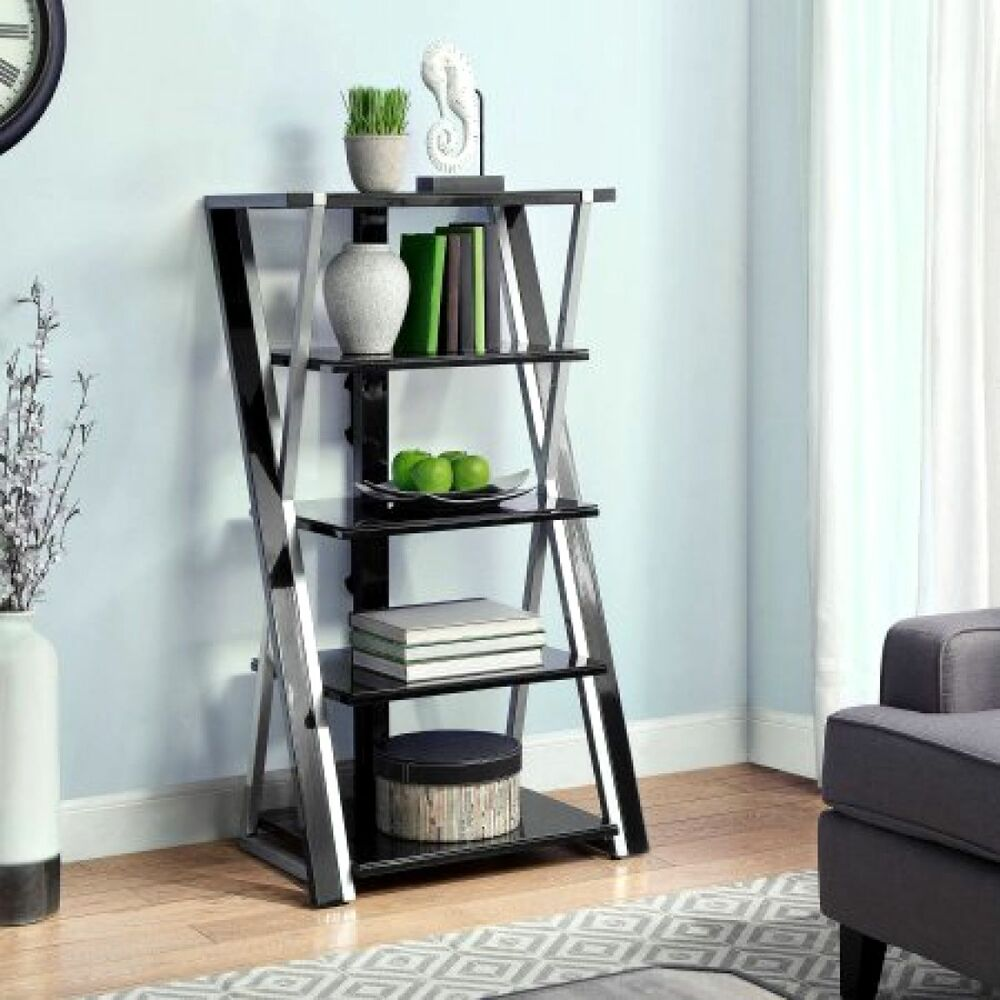 audio video rack tower storage stand shelf stereo equipment cabinet table ebay. Black Bedroom Furniture Sets. Home Design Ideas