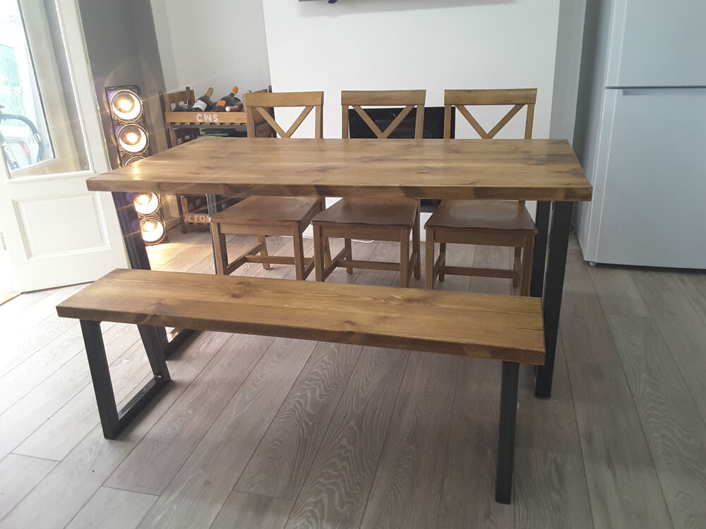 Brinkley rustic industrial reclaimed wood dining table
