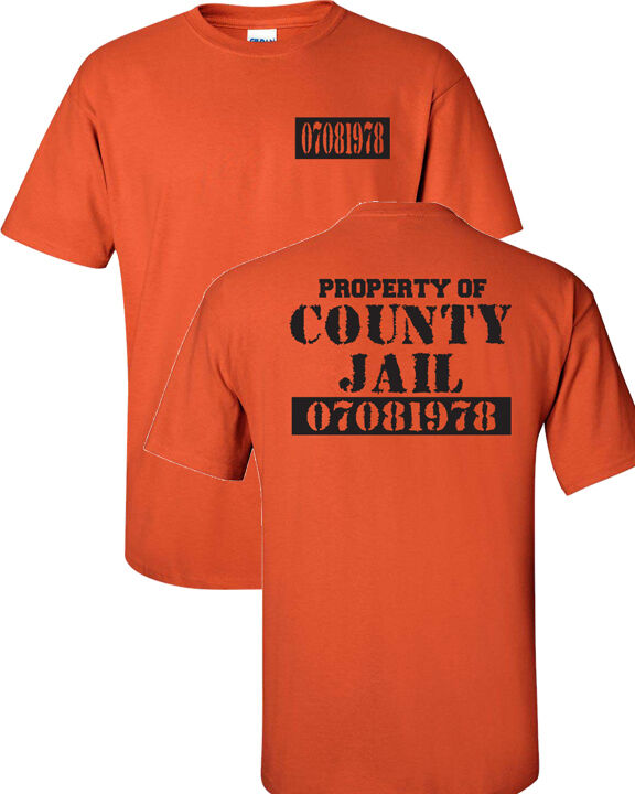 Property of the county jail prison funny orange front for Custom dress shirts orange county