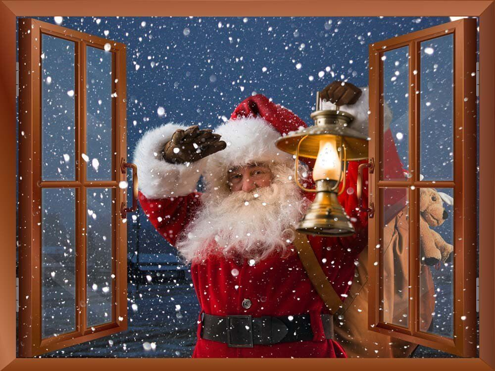 Wall mural santa claus carrying gifts outside of window for Christmas window mural