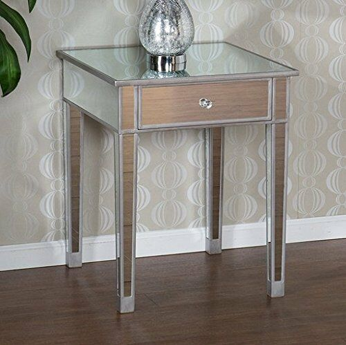 End Table Mirrored Mirror Glass Silver Painted Wood Accent