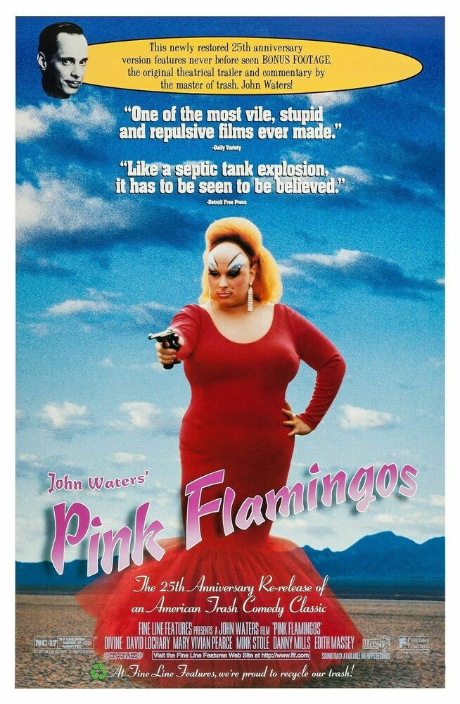 pink flamingos original double sided 27x41 movie poster