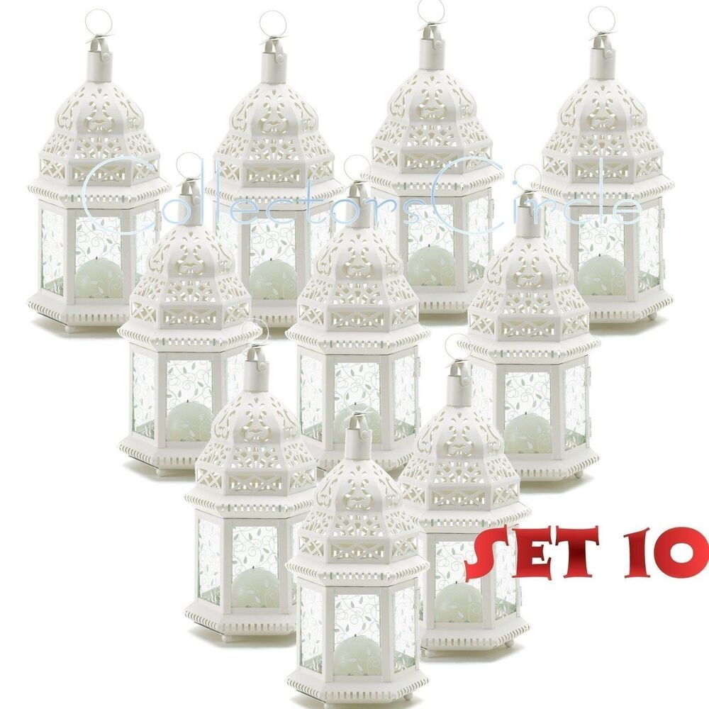 Lantern Centerpiece Wholesale : Lot of white moroccan candle lantern chic wedding party