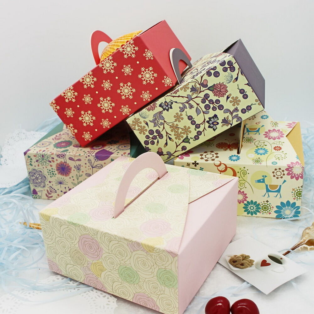 10pcs Colorful Box Wedding Party Candy Cake Gift Boxes Bright Flowers ...