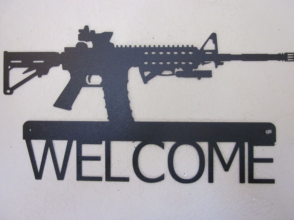 TACTICAL AR-15 WALL ART WELCOME SIGN STEEL TEXTURED BLACK ...
