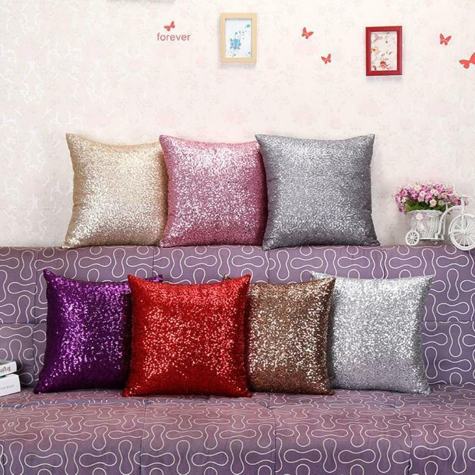 Earnest bling sequins pillow case soft sofa throw cushion for Home decor survivor 6