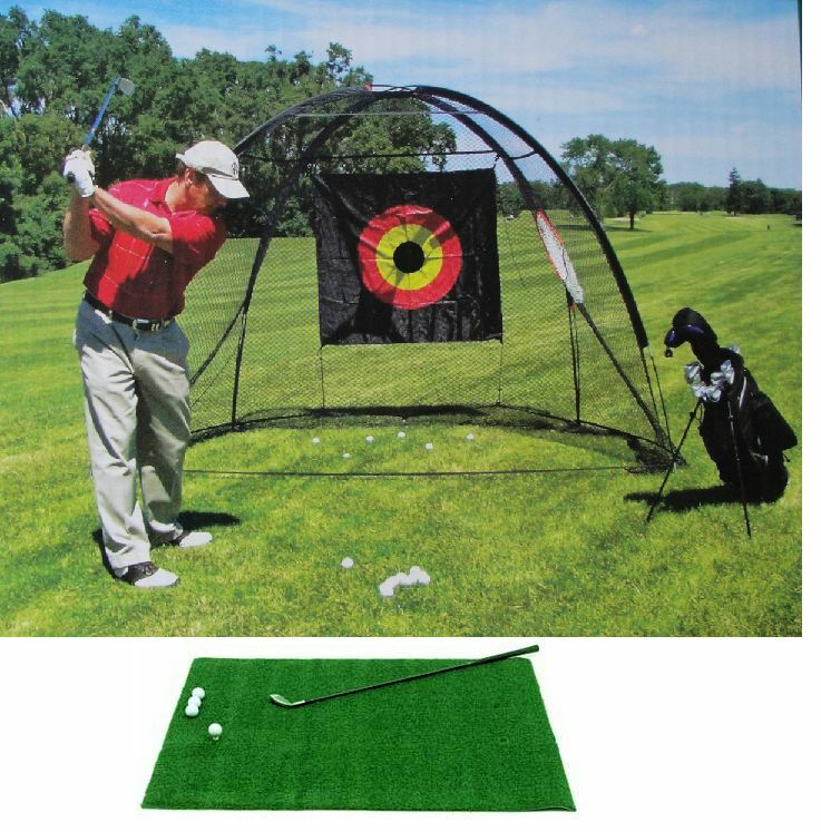 Golf Cage Net And Hitting Practice Mat Pro Combo Ez Set Up Quick And Dura Ble Ebay