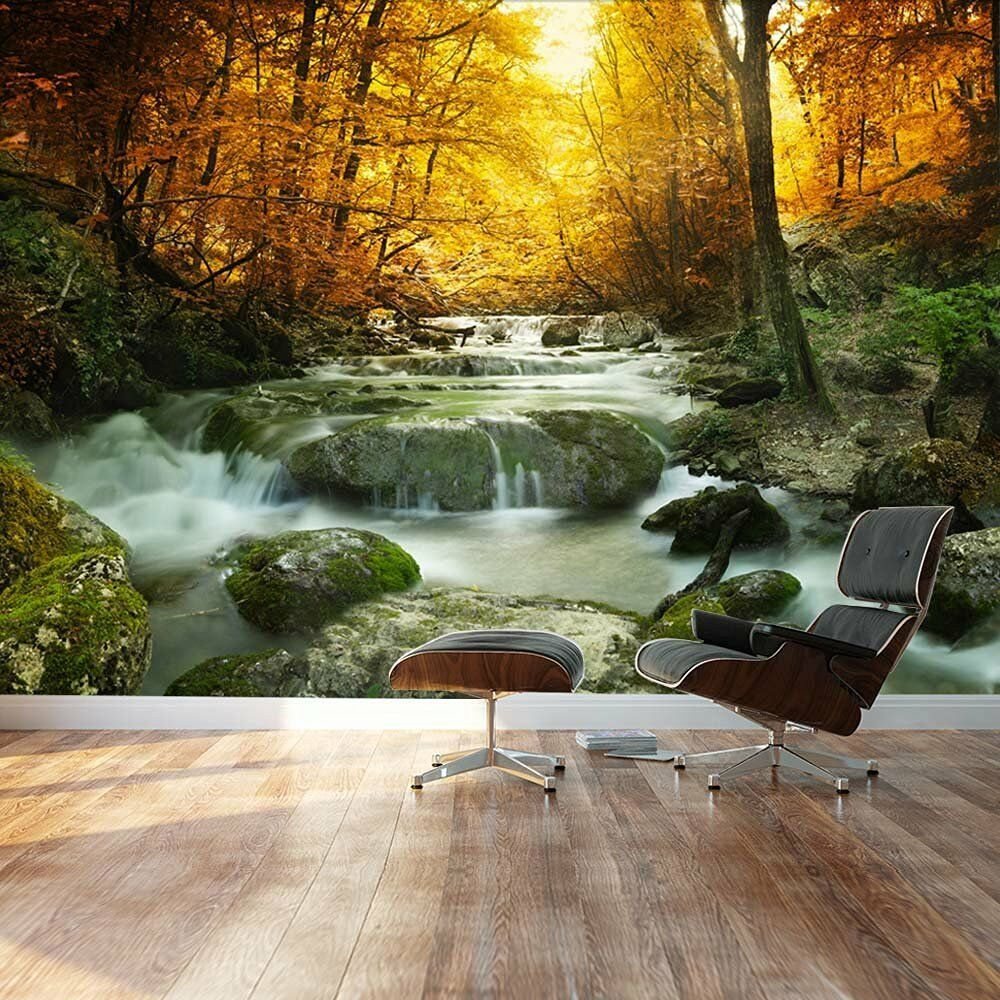 Golden Leaves And Forest Waterfall Serene