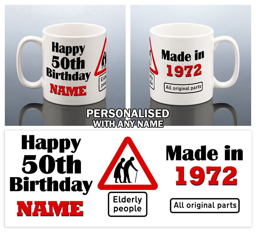 50th BIRTHDAY MUG 1968 PERSONALISED CUP 50 Gift For Him