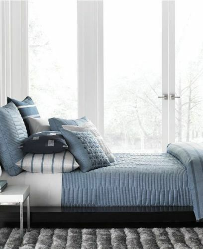 Hotel Collection Brushstroke Coverlet: Hotel Collection COLONNADE BLUE FULL QUEEN QUILTED