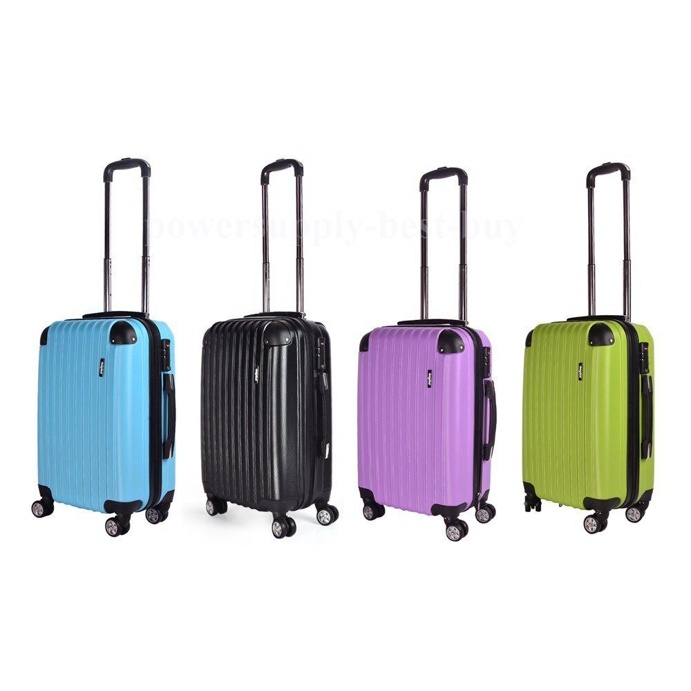abs hard shell travel luggage waterproof suitcase 4 wheel. Black Bedroom Furniture Sets. Home Design Ideas