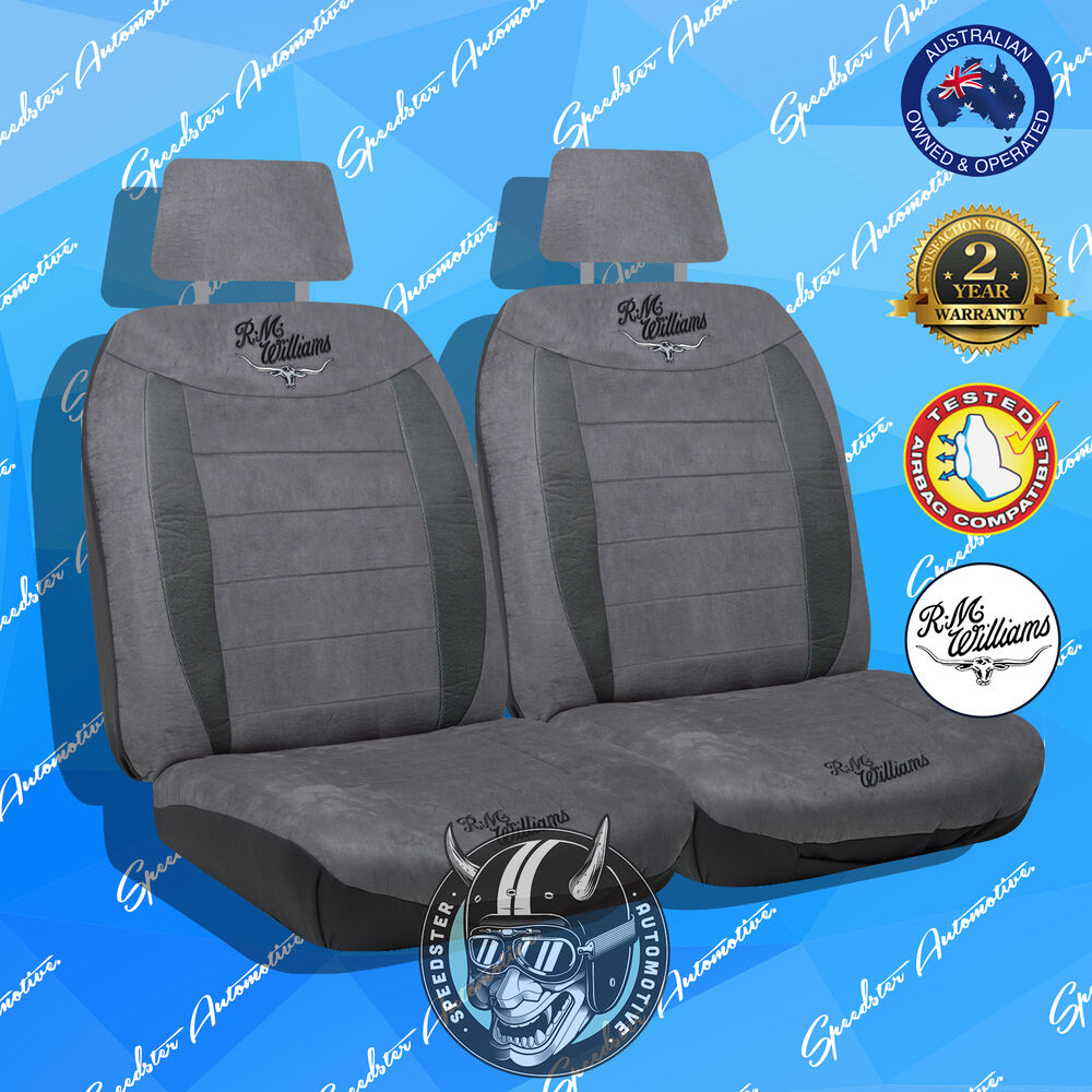 rmw rm williams front car seat cover high quality suede velour charcoal 30 ebay. Black Bedroom Furniture Sets. Home Design Ideas