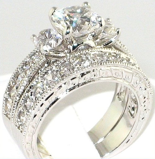 Vintage Wedding Ring Sets: Fancy 3.64 Ct. CZ Antique Anniversary Engagement Wedding