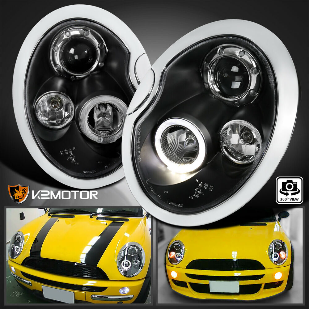 2002 2005 Mini Cooper Led Halo Projector Headlights Black