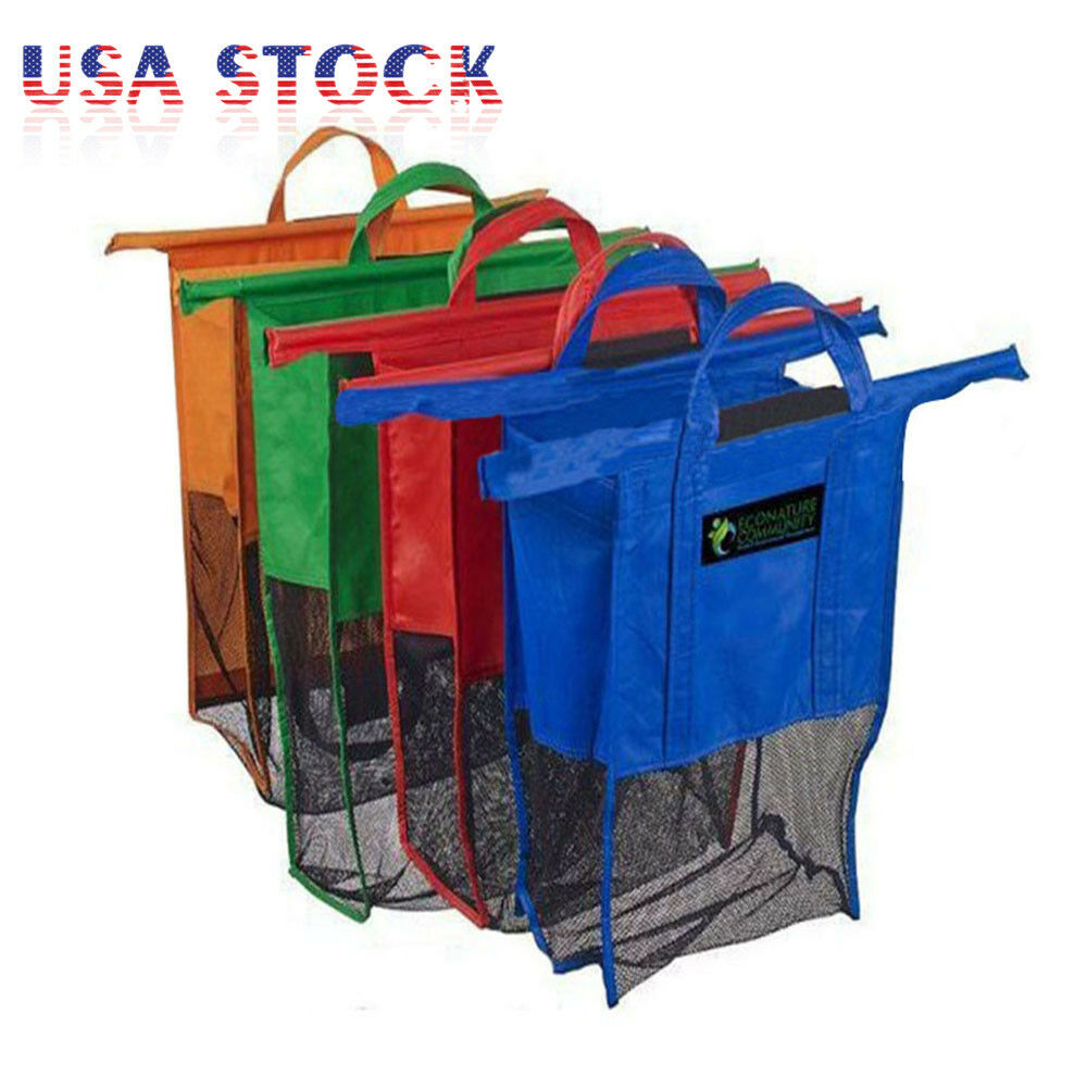 Set of 4 Bags Reusable Grocery Cart Shopping Trolley ...