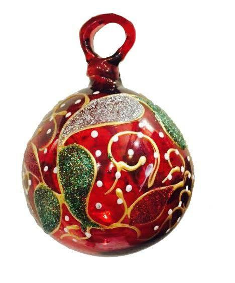 Christmas balls decoration red glass ornament hand blown