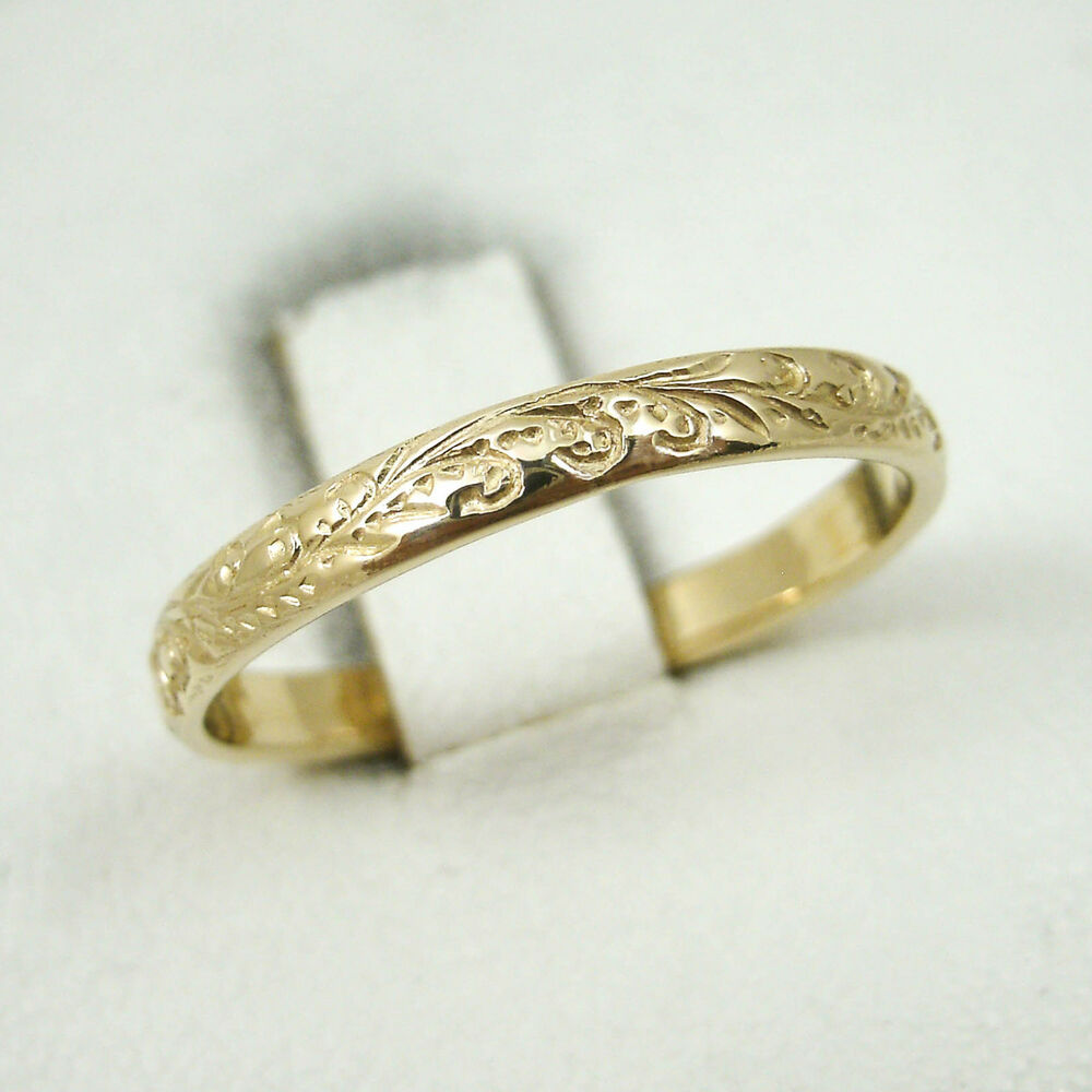 Solid 10k yellow gold hand engraved royal hawaiian scroll for 10k gold jewelry