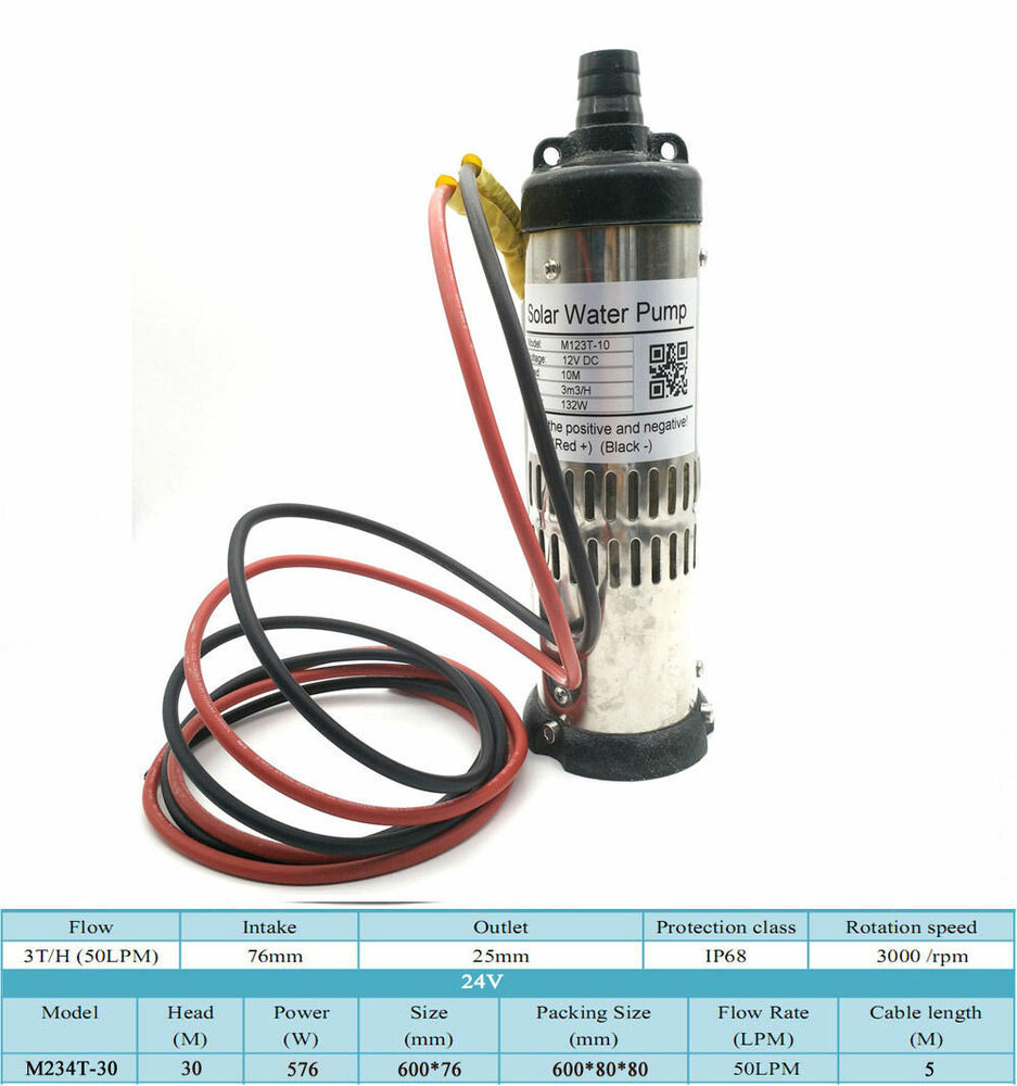 Dc 24v Brushless Solar Submersible Deep Well Water Pump