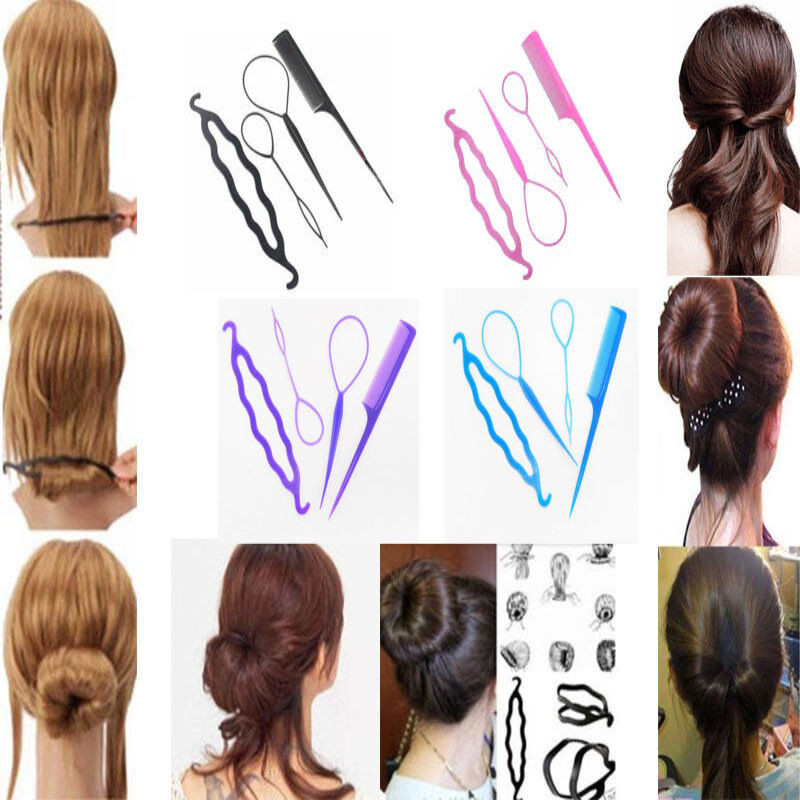topsy hair braid ponytail maker styling tool 4x plastic magic topsy hair braid ponytail styling maker clip tools kit set ebay 4968