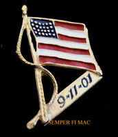 9-11-01 Made In USA FLAG WTC 911 NEW YORK HAT PIN NY PENTAGON UNITED FLIGHT 93