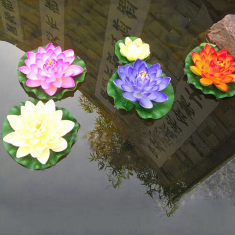 Artificial fake lotus water lily floating flower garden for Flower garden ornaments