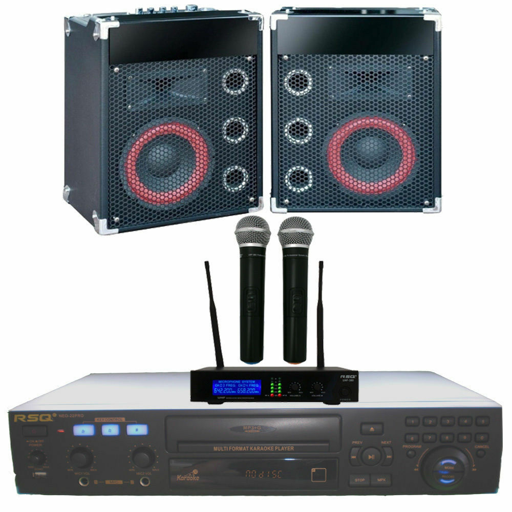 home karaoke machine system rsq player speakers mics 3100 mp3 g music sale new ebay. Black Bedroom Furniture Sets. Home Design Ideas
